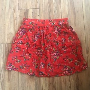 Timing red floral mini skirt